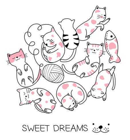 Fumetto del gatto del bambino che gioca con una palla di lana vettore