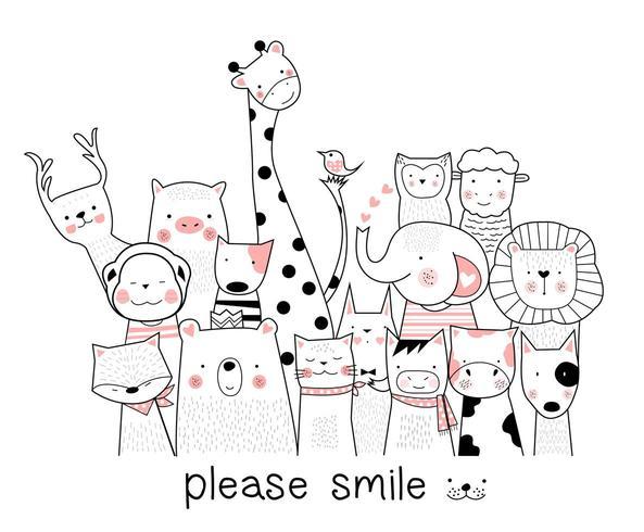 simpatici animaletti sorridenti alla telecamera vettore