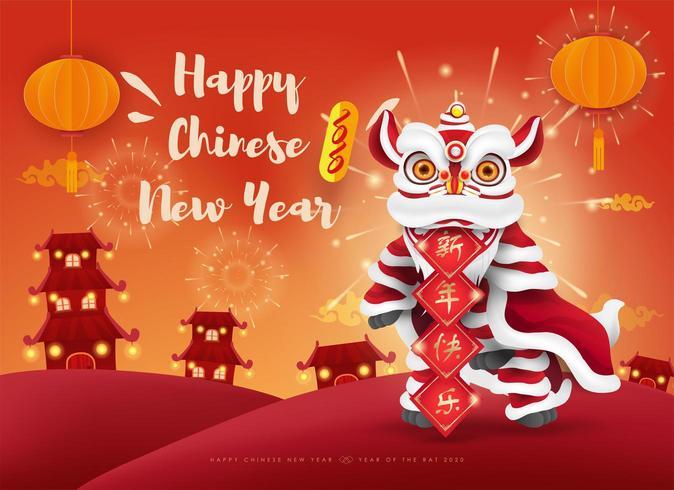 Felice anno nuovo cinese 2020. Lion dance. vettore