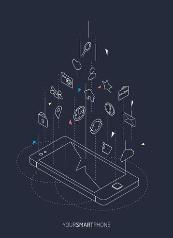 Concetto isometrico del wireframe dello smartphone con differenti icone che galleggiano sopra lo schermo vettore
