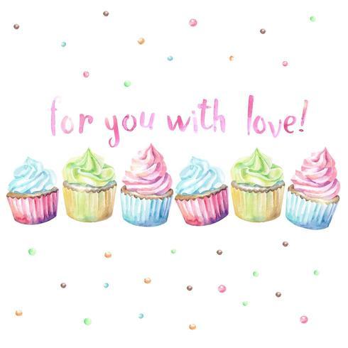 Cupcakes dell'acquerello con testo For You With Love vettore