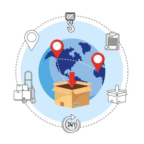 icone di consegna con scatola e globo mostrando punti mappa vettore