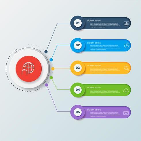 Diagramma infografico a 5 passaggi con linee che si collegano al cerchio vettore