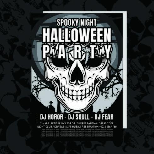 Volantino dell'invito del partito di Halloween del cranio vettore