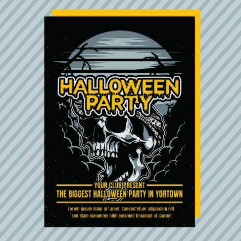 Volantino di invito festa di Halloween vintage vettore