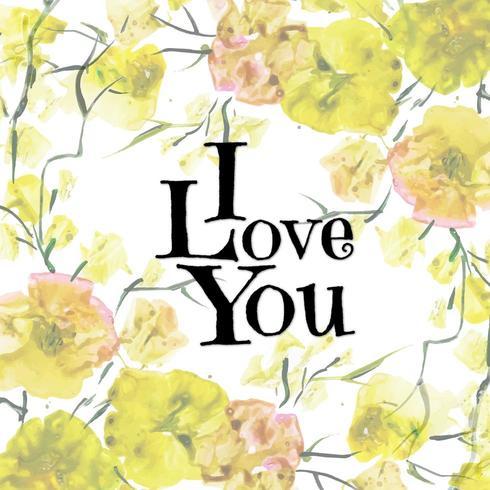 San Valentino floreale dell'acquerello ti amo fondo vettore