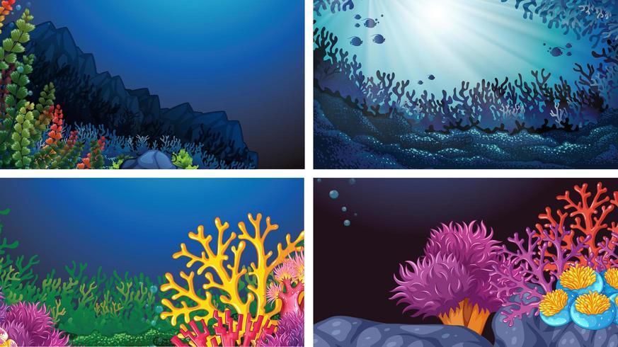Set di paesaggi sottomarini vettore