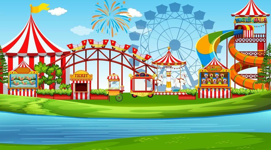 Una scena del parco divertimenti vettore