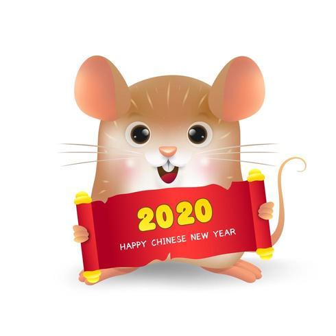 Ratto con 2020 felice anno nuovo cinese vettore