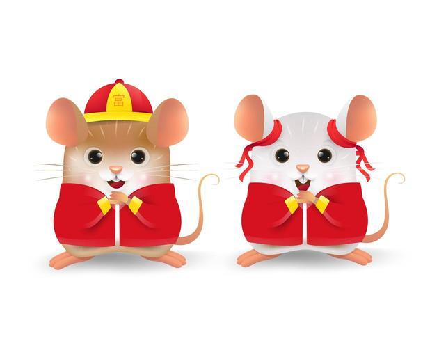 Cartone animato della personalità di topo ragazzino e ragazza vettore