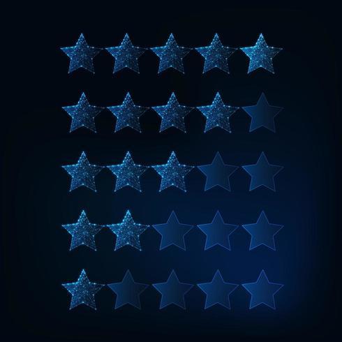 Sistema di valutazione da una a cinque stelle. Stelle poligonali basse incandescenti futuristiche. vettore