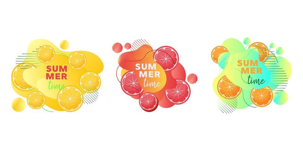 Le insegne di web di ora legale hanno messo con le forme liquide astratte del limone, dell'arancia, del pompelmo e di frutti vettore