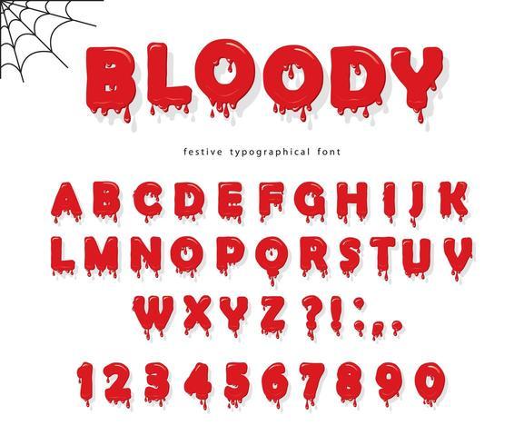 Carattere di sangue di Halloween. Abc lettere e numeri liquidi rosso brillante. vettore