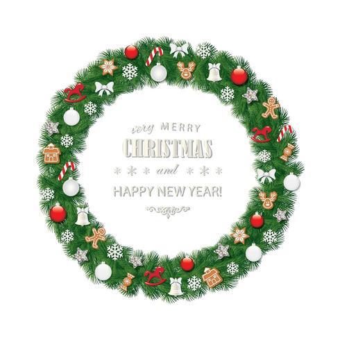 Cornice rotonda ghirlanda di Natale decorata con biscotti pan di zenzero, palline e fiocchi di neve vettore