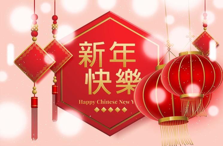 Lanterne cinesi di nuovo anno vettore