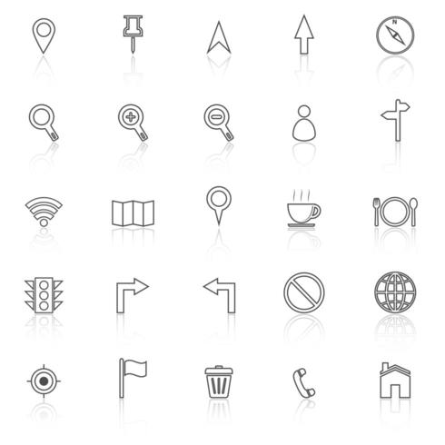 Icone della linea di mappa con la riflessione vettore