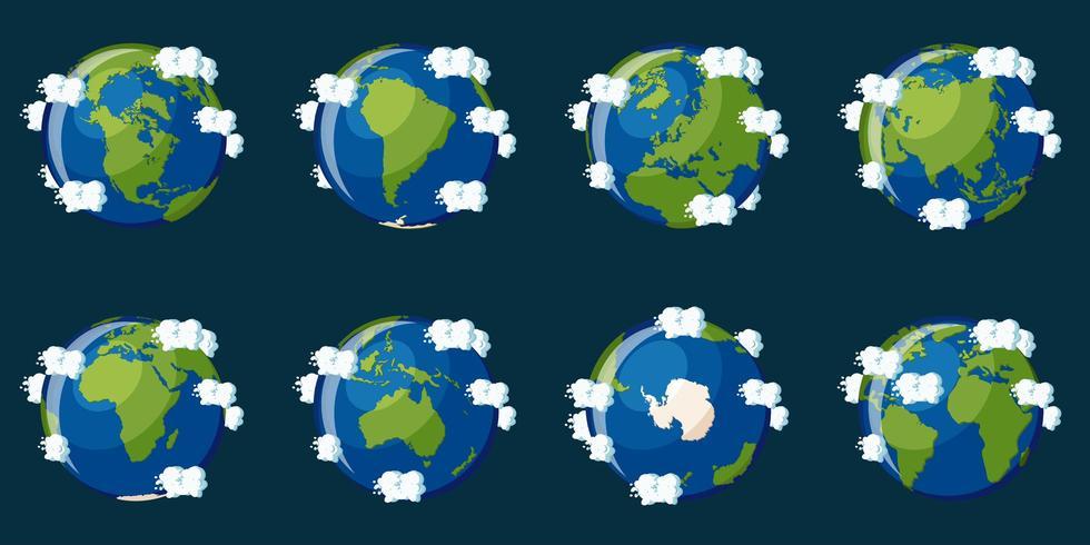 Set di globi che mostrano il pianeta Terra con diversi continenti vettore