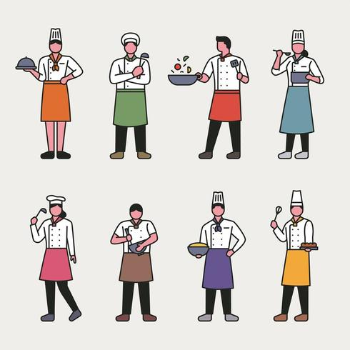 Delineare personaggi da chef in stile. vettore