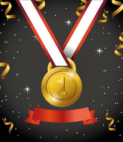 prima medaglia con nastro e coriandoli per la celebrazione vettore