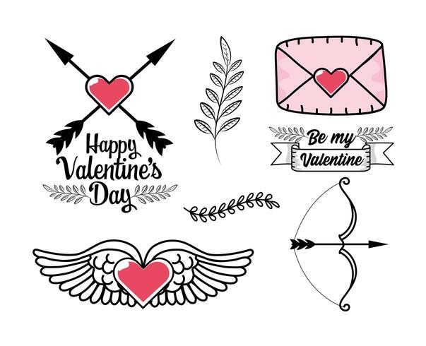 set di cuore con ali, carta di amore e altri elementi di San Valentino vettore