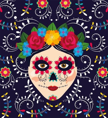 decorazione teschio donna con fiori per evento messicano vettore