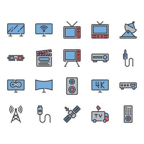 Set di icone relative alla televisione vettore