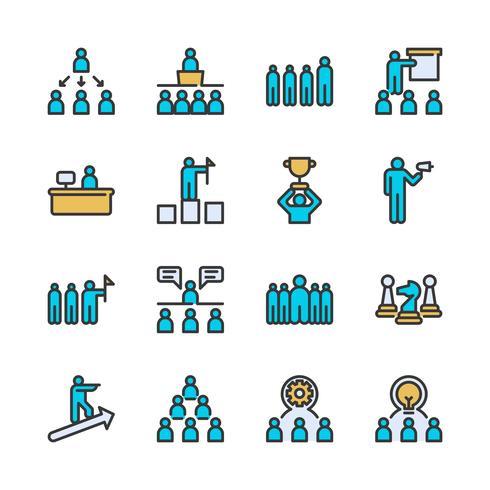 Set di icone di leadership aziendale vettore