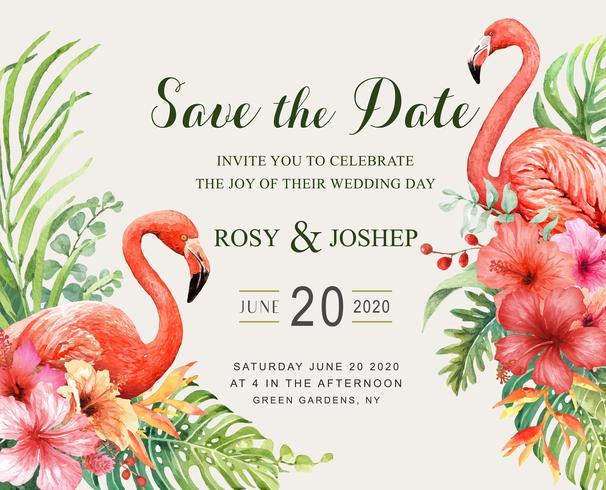 Save the Date Flamingo dell'acquerello con bouquet tropicale. vettore
