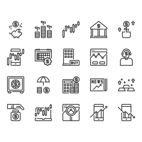 Mercato azionario e set di icone di investimento vettore