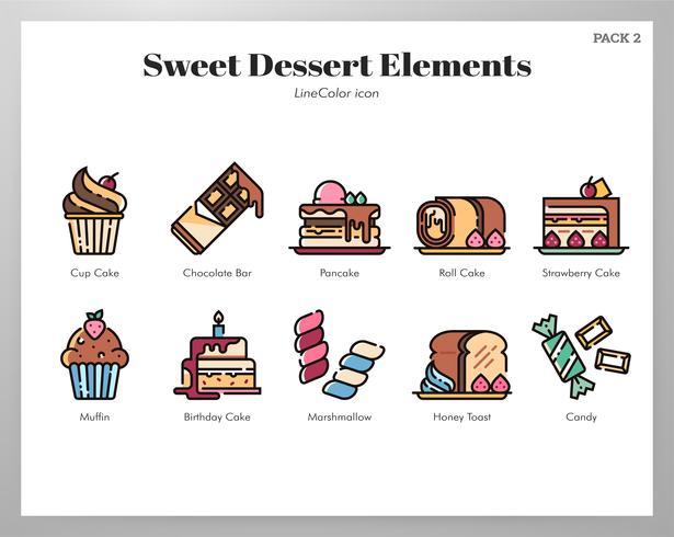 Elementi da dessert dolci LineColor vettore