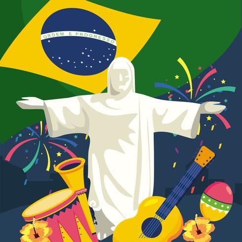 Statua del Cristo Redentore con bandiera brasiliana e oggetti vettore