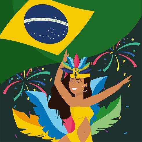 Ballerina di carnevale femminile con bandiera brasiliana vettore
