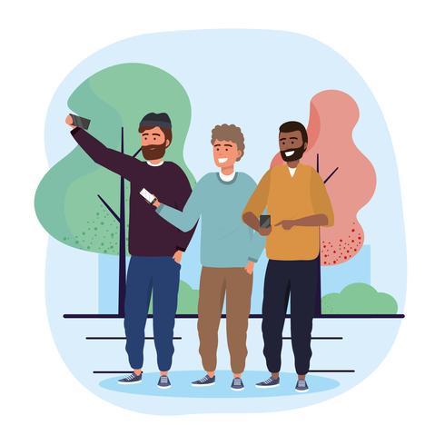 Amici maschi con selfie per smartphone vettore