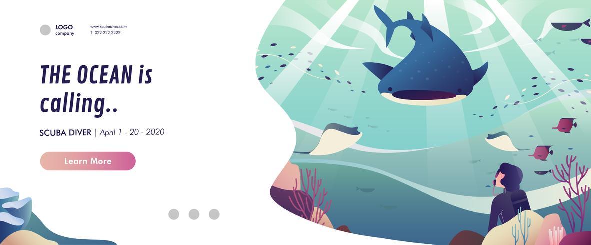Banner di immersioni subacquee vettore