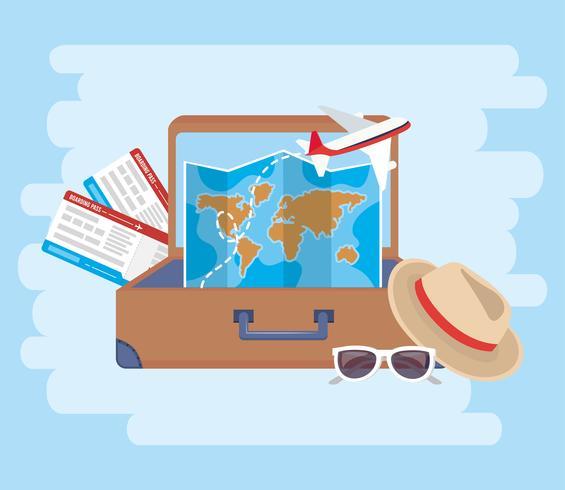 Biglietti aerei con e mappa all'interno della valigia vettore