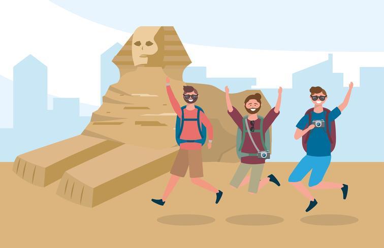 Amici maschi che si divertono in Egitto vettore