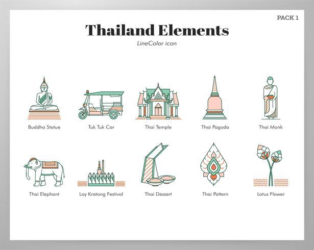Pacchetto di elementi Thailandia vettore