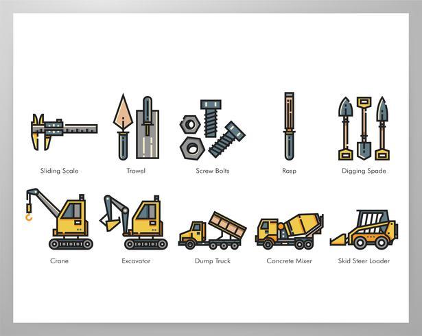 Pacchetto di elementi di strumento di costruzione vettore