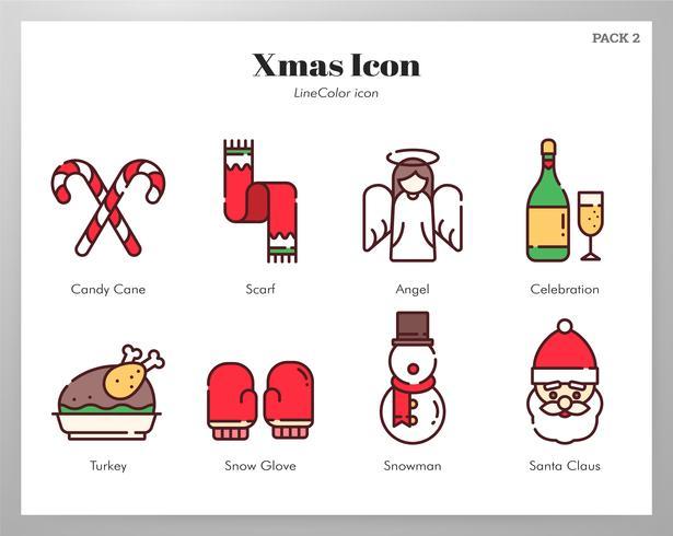 Pack di icone di Natale LineColor vettore