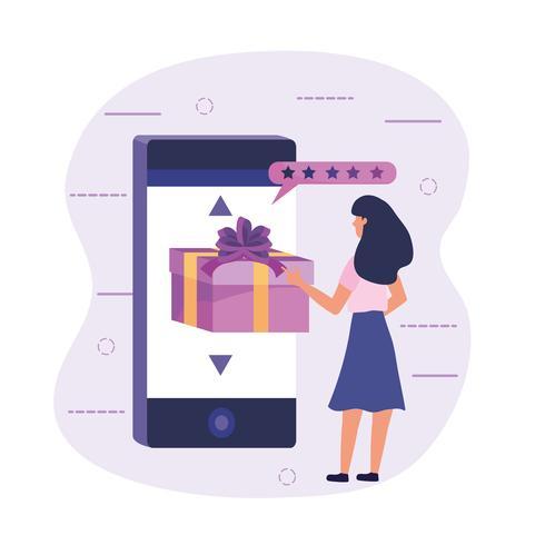 Donna con tecnologia di e-commerce smartphone vettore