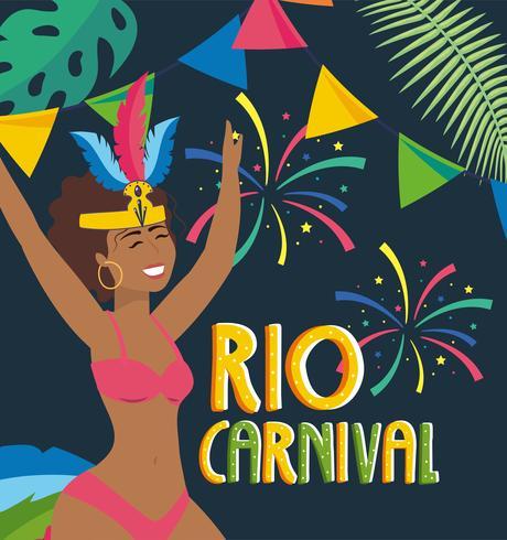 Ballerina di carnevale femminile sul poster di carnevale di Rio vettore