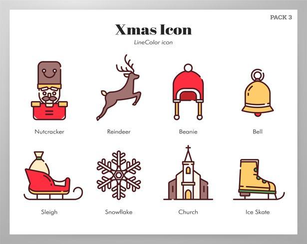 Icone di Natale LineColor set vettore