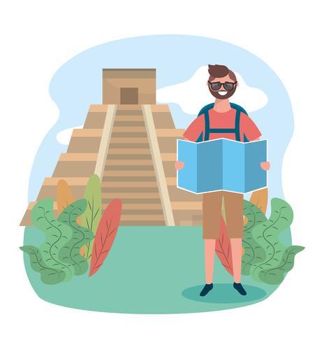 Turista maschio che sta davanti al tempio vettore