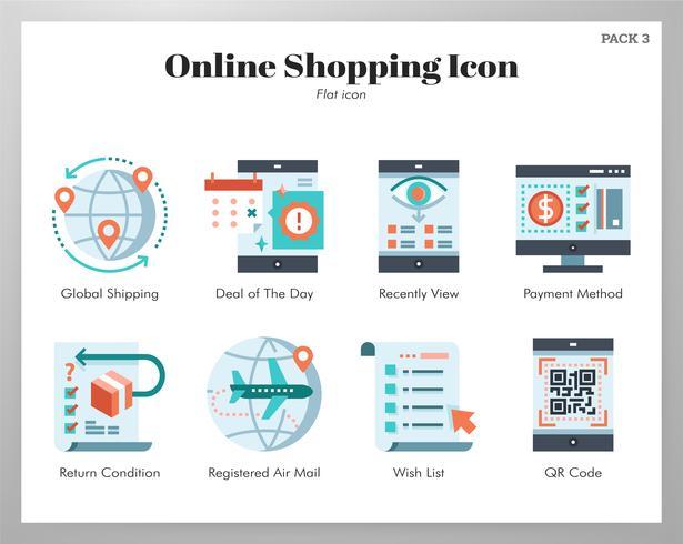 Pack di icone dello shopping online vettore