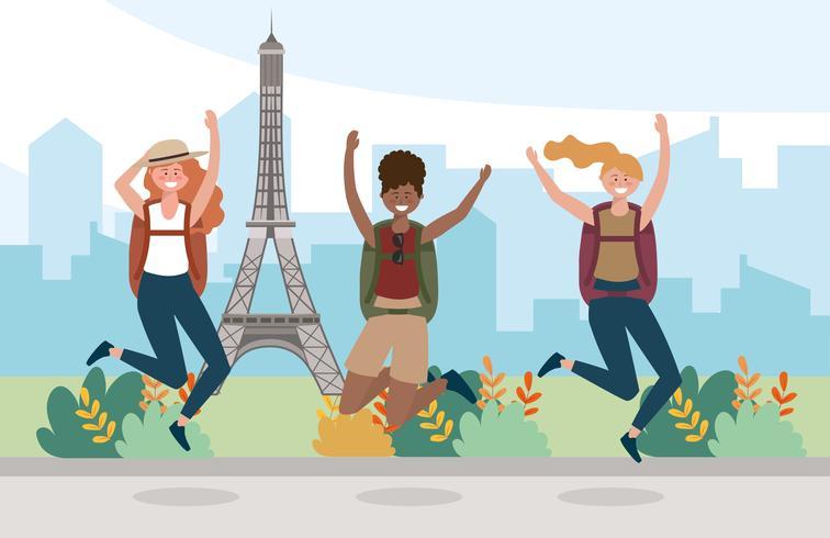 Gruppo di amici femminili che saltano davanti alla torre Eiffel vettore