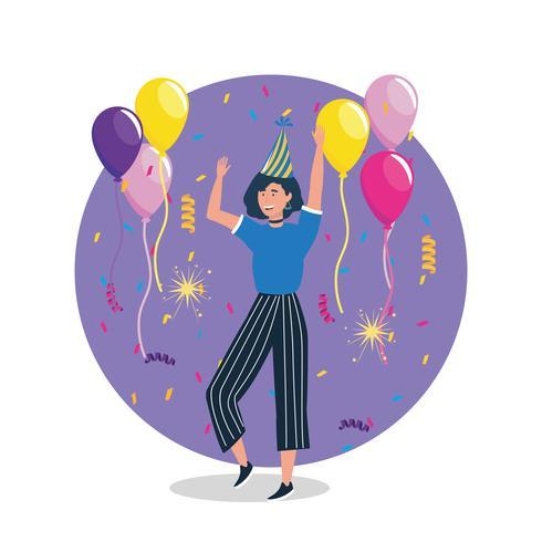 Donna con i capelli scuri che balla con palloncini e cappello da festa vettore