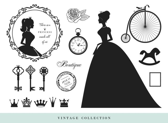 Set di sagome vintage. Principesse, vecchie chiavi, corone, francobolli. vettore