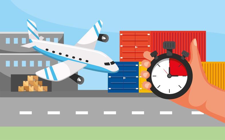 Trasporto aereo con lancetta e cronometro vettore