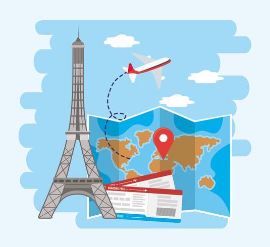 Torre Eiffel con posizione sulla mappa globale e biglietti aerei vettore