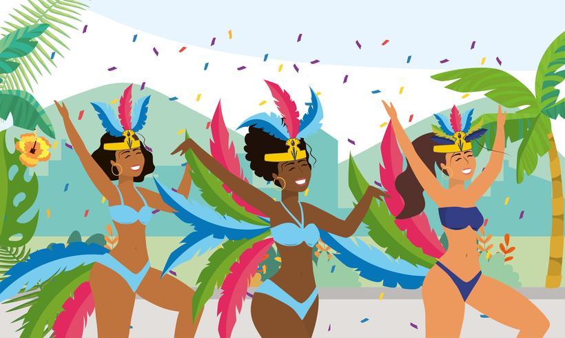 Tre ballerini tradizionali di carnevale brasiliano vettore
